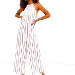 NWT ASOS Stripe Halter Wide Leg Jumpsuit